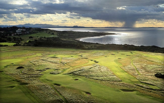 aerial views of the hole at Muirfield Golf Club on September 21, in Gullane, Lothian, Scotland.