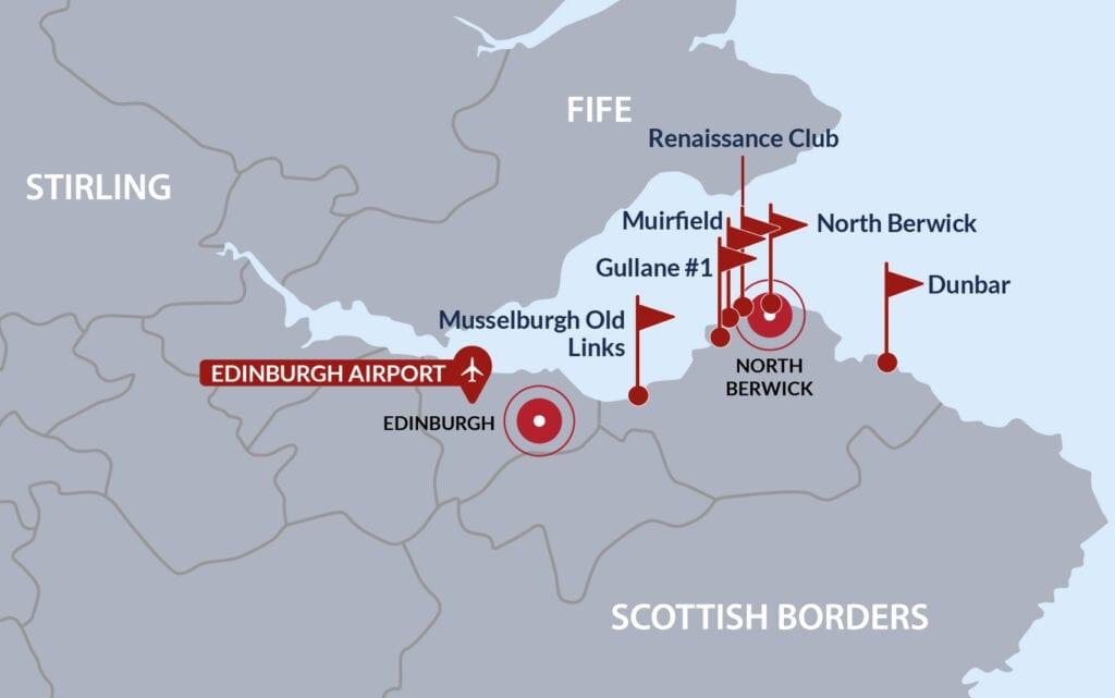 East Lothian Golf Map