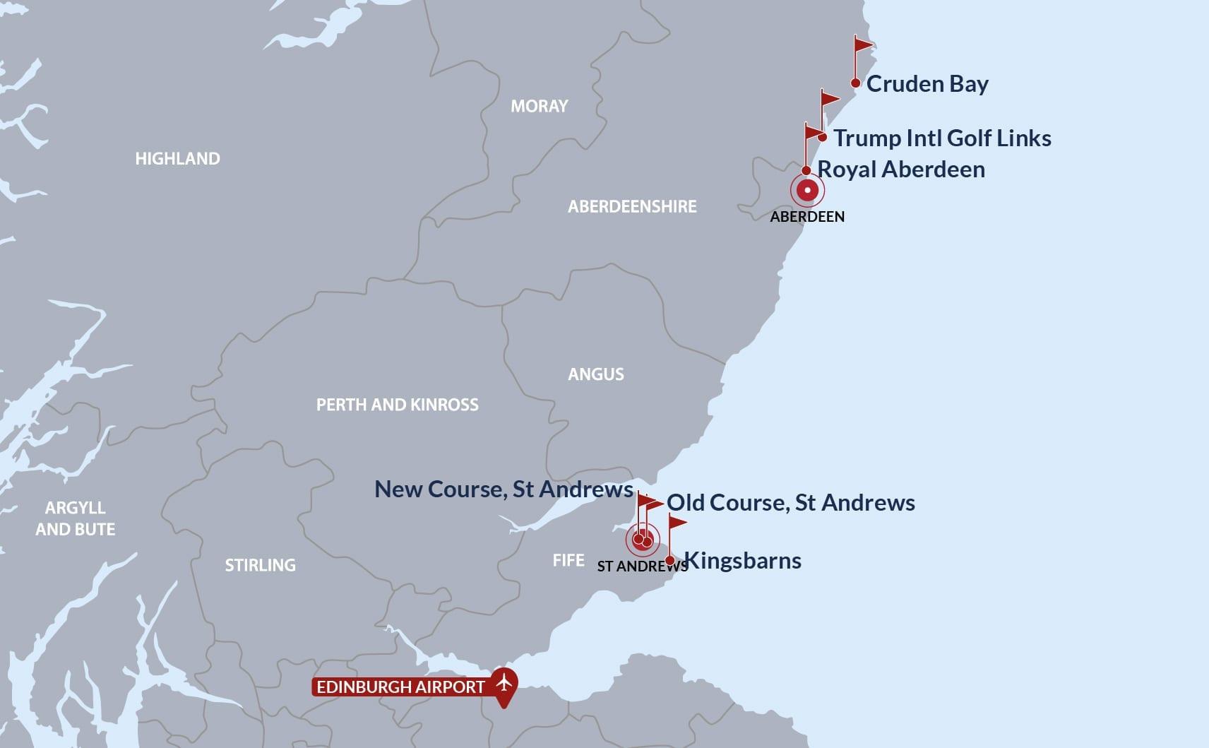 ST Andrews & Aberdeenshire Golf Map