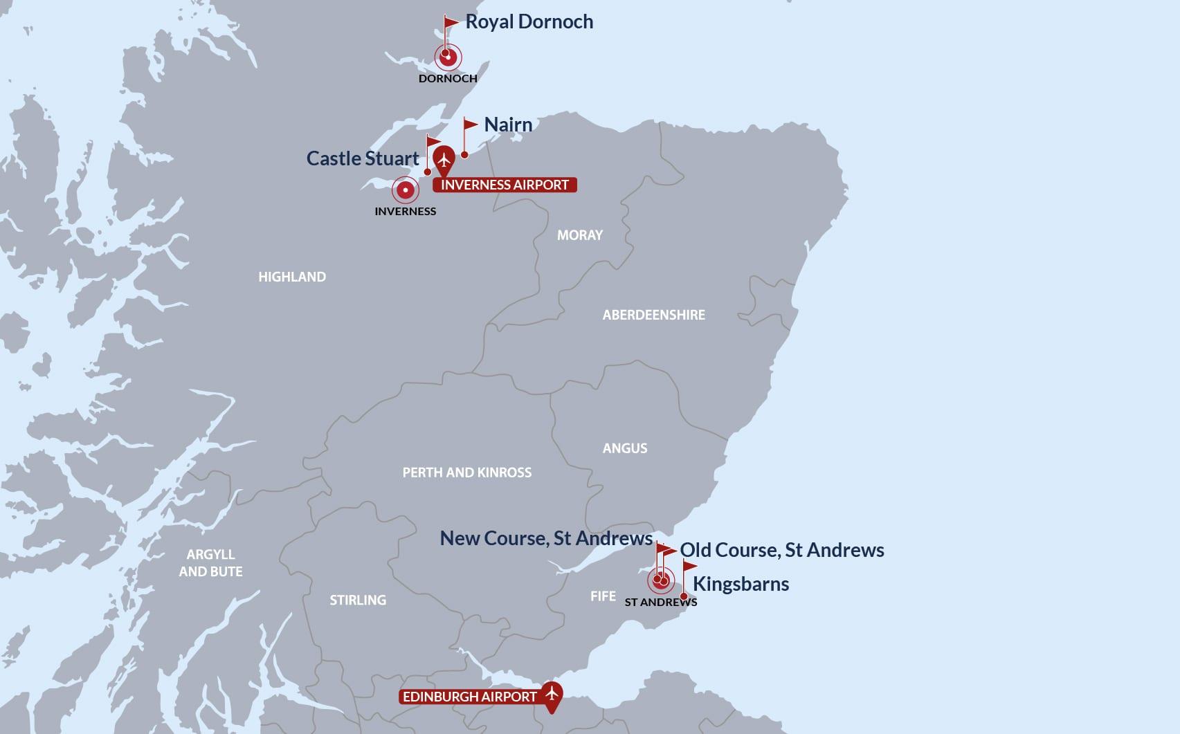 St Andrews & Highlands Golf Map