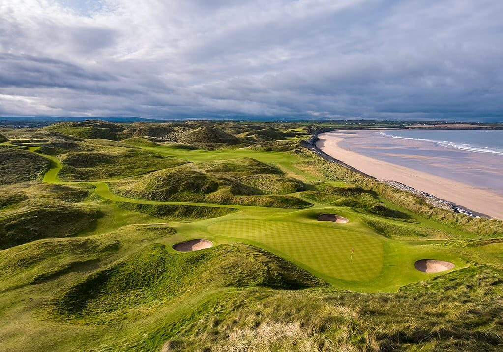 A diffused light coming through the clouds made this photograph of the 15th hole of the Old Course at Ballybunion Golf Club in Ireland looks surreal.